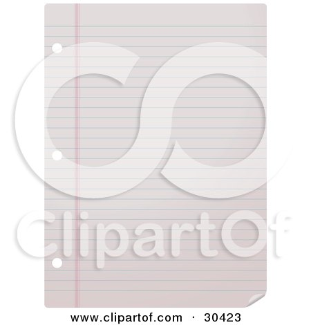 Clipart Illustration of a Blank Lined College Ruled Piece Of Paper With Binder Ring Holes by Melisende Vector