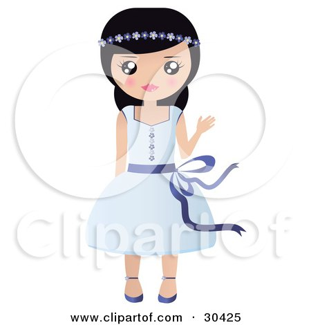 Clipart Illustration of a Friendly Black Haired Caucasian Girl With Flowers In Her Hair, Waving And Wearing A Pretty Blue Dress by Melisende Vector