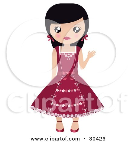 Clipart Illustration of a Friendly Black Haired Caucasian Girl With Her Hair In Pigtails, Waving And Wearing A Pretty Red Dress by Melisende Vector