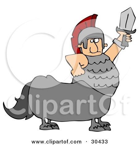 Clipart Illustration of a Roman Soldier Centaur Man Holding Up A Sword by djart