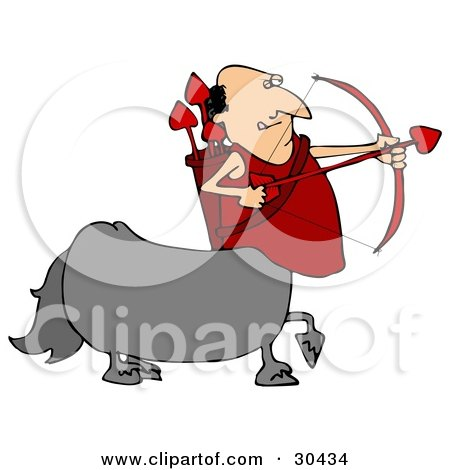 Clipart Illustration of a Cupid Centaur Man Shooting Red Heart Valentine's Day Arrows by djart