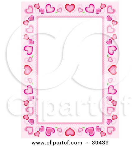 Clipart Illustration of a Stationery Border Of Different Sized Hearts Around White Space by Alex Bannykh