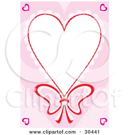 Clipart Illustration of a Stationery Border Of Lacy Heart With A Bow Around White Space, With Pink Hearts In The Corner by Alex Bannykh
