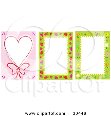 Clipart Illustration of a Set Of Heart, Raspberry And Flower Stationery Backgrounds by Alex Bannykh