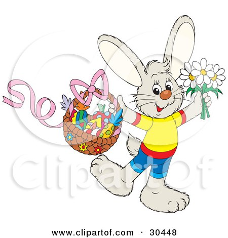 Clipart Illustration of a Happy Bunny Rabbit Wearing Clothes, Holding Spring Daisy Flowers And A Basket Of Colorful Easter Fruit by Alex Bannykh