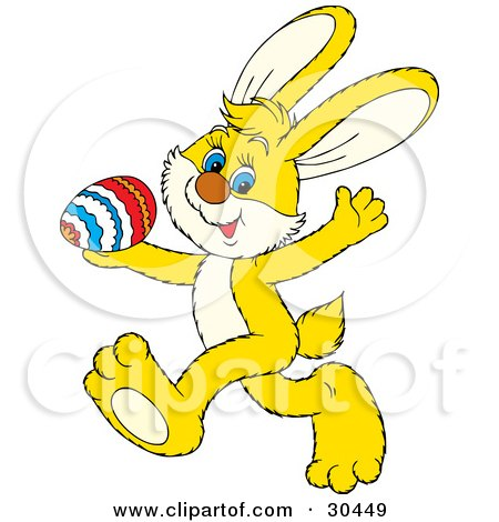 Clipart Illustration of a Cute Yellow Rabbit Running Past With A Colorful Egg In His Hand by Alex Bannykh