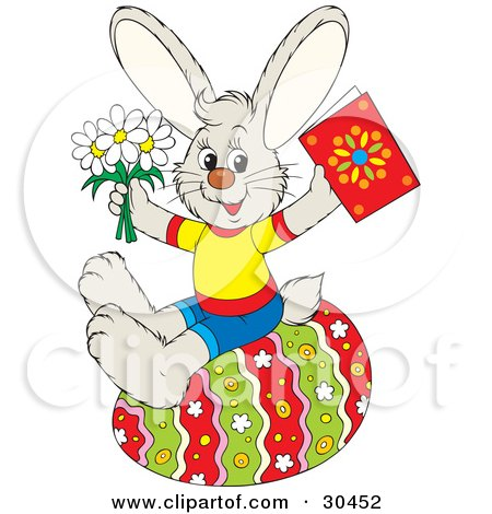 Clipart Illustration of a Dressed Bunny Rabbit Holding Spring Daisy Flowers And A Greeting Card While Sitting On A Colorful Easter Egg by Alex Bannykh