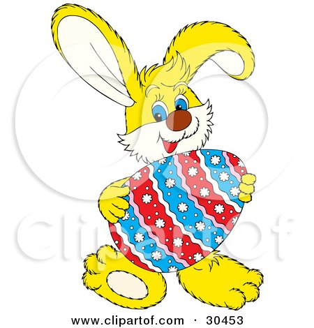 Clipart Illustration of a Friendly Yellow Easter Bunny Smiling And Holding A Large Colorful Floral Patterned Easter Egg In Front Of Him by Alex Bannykh