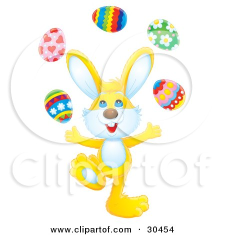 Clipart Illustration of a Juggling Yellow Rabbit Tossing Easter Eggs Into The Air by Alex Bannykh