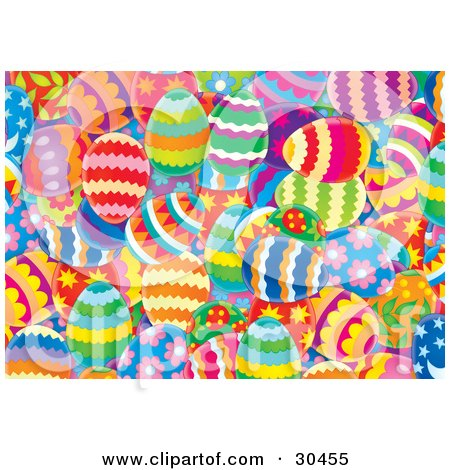 Clipart Illustration of a Background Of Colorful And Differently Patterned Easter Eggs by Alex Bannykh