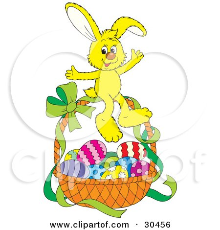 Clipart Illustration of a Cute Yellow Bunny Rabbit Sitting On Top Of A Basket Of Easter Eggs With A Green Ribbon On The Handle by Alex Bannykh