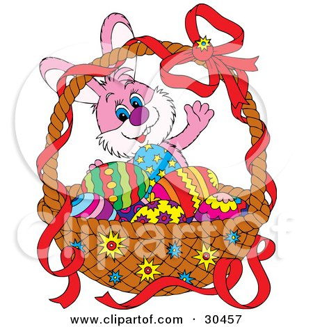 Clipart Illustration of a Friendly Pink Bunny Rabbit Waving And Standing Behind A Basket Of Colorful Easter Eggs by Alex Bannykh