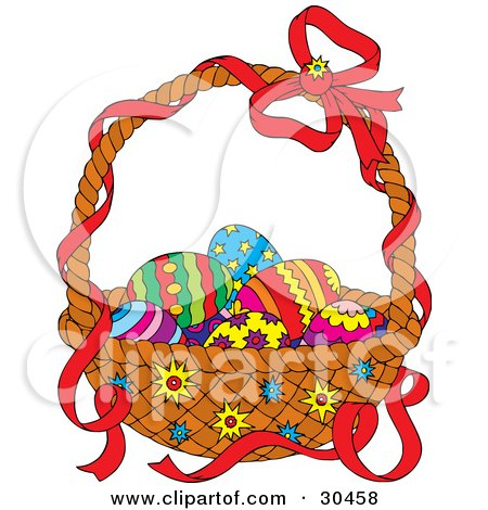 Clipart Illustration of a Red Ribbon On The Handle Of A Basket Of Colorful Easter Eggs by Alex Bannykh