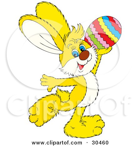 Clipart Illustration of a Cute Yellow Easter Bunny Prancing And Holding Up A Colorful Easter Egg by Alex Bannykh