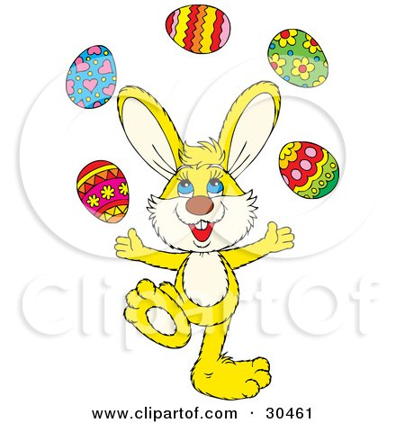 Clipart Illustration of a Talented Yellow Bunny Juggling Colorful Easter Eggs by Alex Bannykh