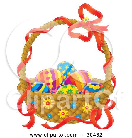 Clipart Illustration of Colorful Eggs Nestled In An Easter Basket With A Red Ribbon On The Handle by Alex Bannykh