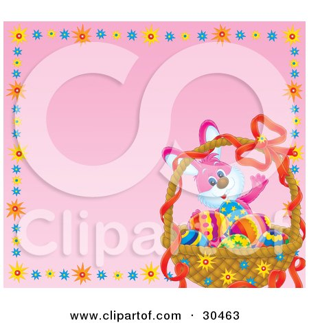 Clipart Illustration of a Happy Waving Bunny Rabbit With A Basket Of Colorful Eggs In The Corner Of A Pink Background Bordered By Colorful Bursts by Alex Bannykh
