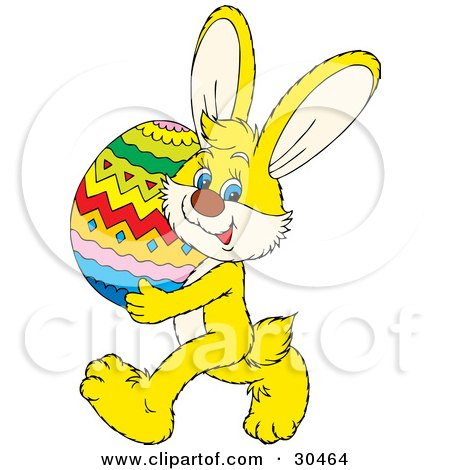 Clipart Illustration of a Cute Yellow Rabbit Carrying A Large Colorful Easter Egg by Alex Bannykh