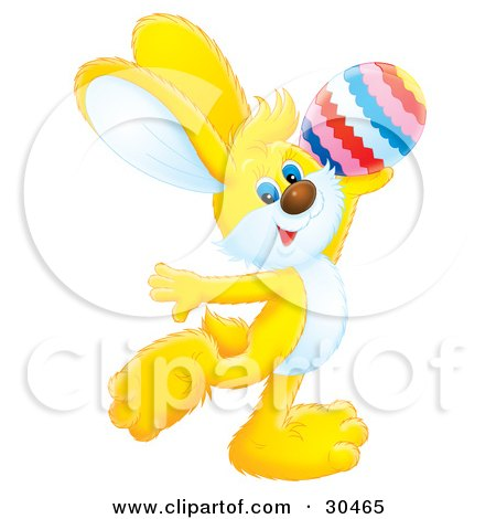 Clipart Illustration of an Adorable Yellow Rabbit Holding Up An Easter Egg And Dancing by Alex Bannykh