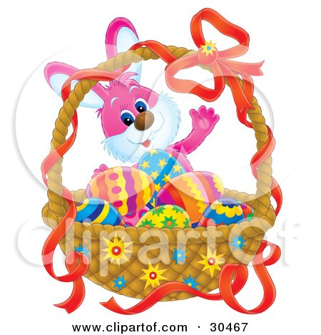 Clipart Illustration of a Pink Easter Bunny Standing Behind A Basket Of Colorful Eggs by Alex Bannykh