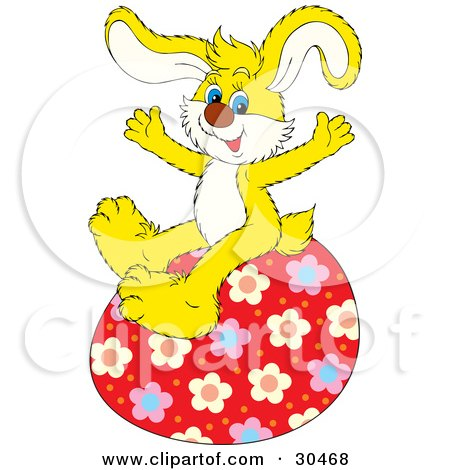 Clipart Illustration of an Energetic Yellow Bunny Rabbit Sitting On Top Of A Big Red Floral Patterned Easter Egg by Alex Bannykh