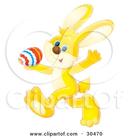 Clipart Illustration of a Yellow, Blue Eyed Bunny Rabbit Waving And Walking Past With A Colored Easter Egg by Alex Bannykh