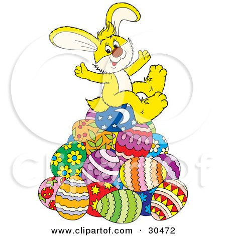 Clipart Illustration of a Happy Yellow Easter Bunny Sitting On Top Of A Pile Of Decorated Easter Eggs by Alex Bannykh
