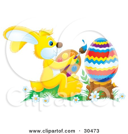 Clipart Illustration of an Artistic Yellow Easter Bunny Holding A Palette And Paintbrush And Painting A Large Easter Egg Resting On A Stump by Alex Bannykh