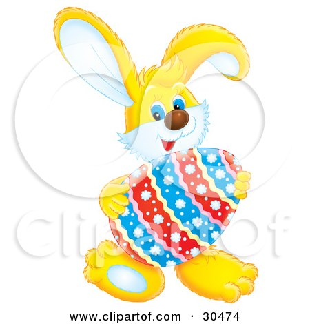 Clipart Illustration of a Cute Yellow Rabbit Holding A Floral Patterned Easter Egg by Alex Bannykh