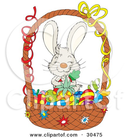Clipart Illustration of an Adorable Gray Bunny Rabbit Hugging A Carrot And Standing Behind A Basket Of Colored Fruits And Veggies by Alex Bannykh