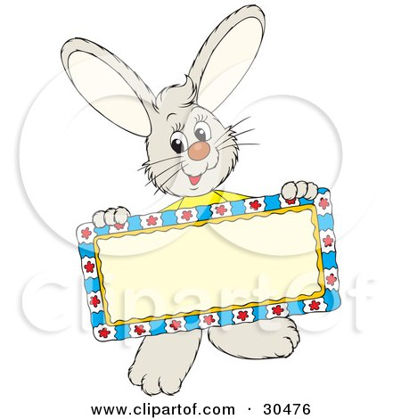 Clipart Illustration of a Friendly Little Rabbit Holding A Blank Sign by Alex Bannykh