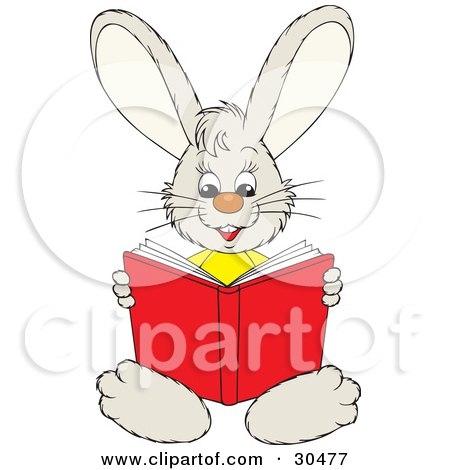 Clipart Illustration of a Smart Little Bunny Rabbit Sitting And Reading A Red Book by Alex Bannykh