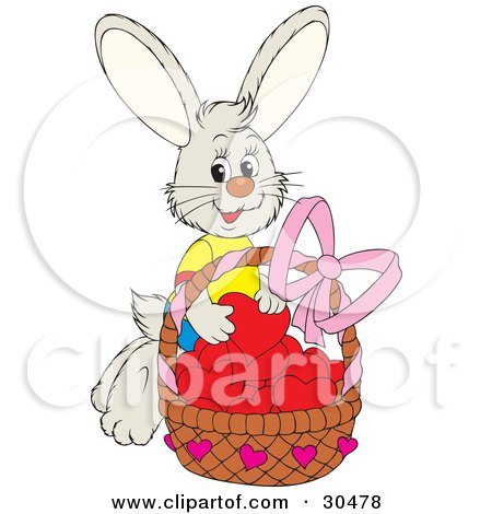 Clipart Illustration of a Sweet Bunny Rabbit Wearing A T Shirt, Putting Red Hearts In A Basket Of Valentines by Alex Bannykh