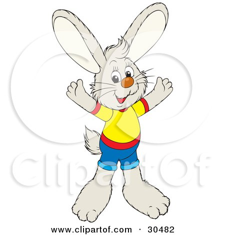 Clipart Illustration of a Friendly Bunny Dressed In Shorts And A Shirt, Holding His Arms Out by Alex Bannykh