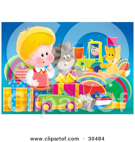 Clipart Illustration of a Cute Little Blond Boy, A Cat And Fox Admiring A Large Group Of Birthday Presents by Alex Bannykh