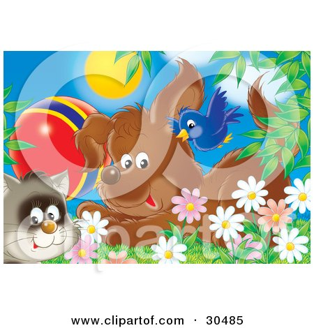 Clipart Illustration of a Blue Bird Flying Over A Puppy Dog And A Cat With A Ball In A Field Of Spring Daisy Flowers by Alex Bannykh
