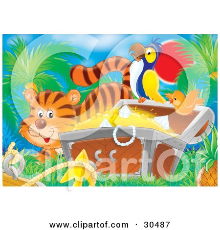 Clipart Illustration of a Tiger By An Orange Bird Flying By A Parrot Perched On A Treasure Chest Full Of Gold And Diamonds by Alex Bannykh