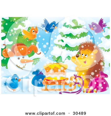 Clipart Illustration of Colorful Birds And A Hedgehog Presenting A Snowman With A Birthday Cake On A Sled On A Snowy Winter Day by Alex Bannykh