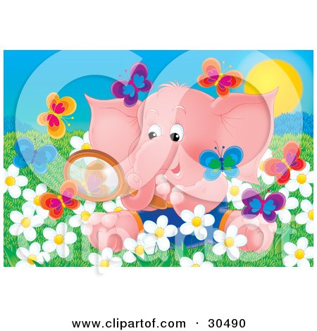 Clipart Illustration of a Cute Pink Baby Elephant Sitting In A Field Of Spring Daisy Flowers, Looking At Butterflies Through A Magnifying Glass by Alex Bannykh
