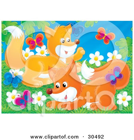 Clipart Illustration of Two Playful Fox Kits Chasing Butterflies In A Field Of Daisy Flowers On A Spring Day by Alex Bannykh