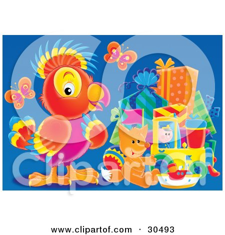 Clipart Illustration of Butterflies Over A Baby Fox And A Parrot Looking At A Group Of Gifts by Alex Bannykh