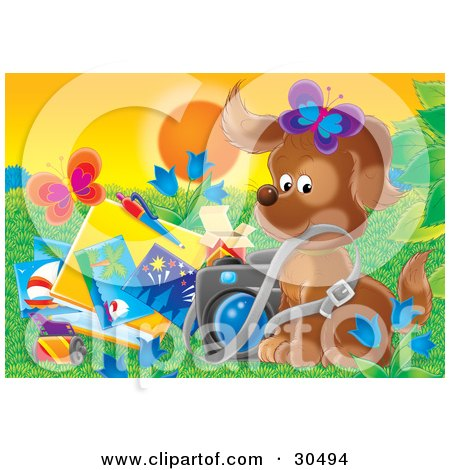 Clipart Illustration of Butterflies Over A Cute Brown Puppy Dog With A Camera And Folder Of Pictures by Alex Bannykh