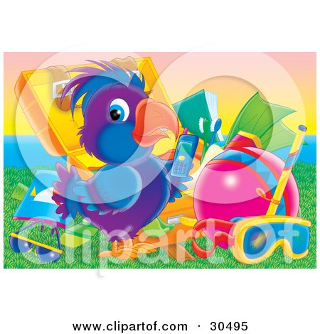 Clipart Illustration of a Blue And Purple Parrot Standing In Front Of A Suitcase With Travel Items, Holding A Cell Phone by Alex Bannykh