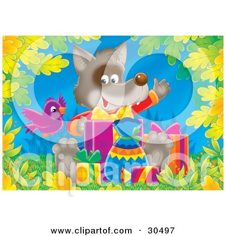Clipart Illustration of a Purple Bird Flying By A Cute Baby Fox Waving While Opening Birthday Presents by Alex Bannykh