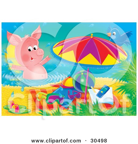 Clipart Illustration of a Blue Bird Perched On An Umbrella, Watching A Pink Pig Swim By Beach Toys And A Towel On The Beach by Alex Bannykh