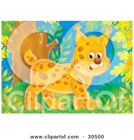 Clipart Illustration of a Cute Baby Bobcat Walking Through A Forest by Alex Bannykh