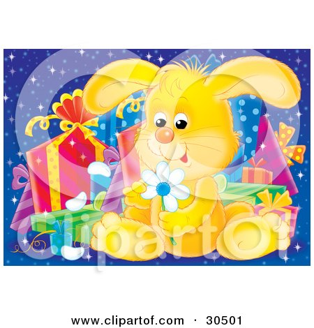 Clipart Illustration of a Cute Yellow Baby Bunny Rabbit Sitting In Front Of A Group Of Presents, Picking Petals Off Of A Yellow Daisy Flower by Alex Bannykh