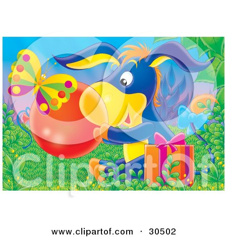Butterfly Near A Cute Blue Donkey Sitting In Grass With A Present, Holding A Clear Ball Or Bubble Posters, Art Prints