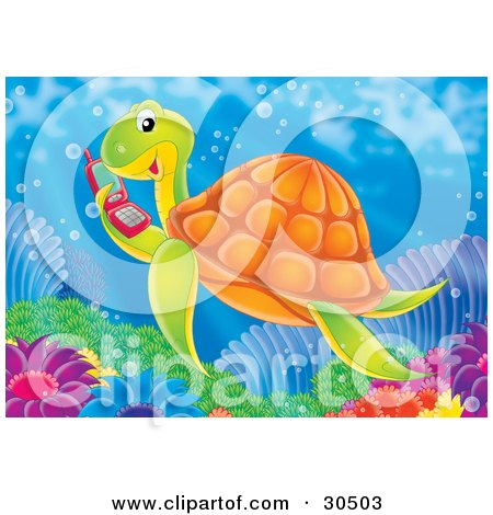 Social Sea Turtle Swimming And Talking On A Red Cell Phone Posters, Art Prints