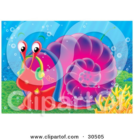 Clipart Illustration of a Red Sea Snail With A Purple Shell, Moving Slowly Along The Sea Floor by Alex Bannykh